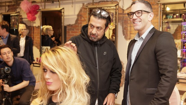 "Anthony Mascolo and Mark O'Keffe at Sugar Cubed on Clarendon Street Dublin for the launch of TIGI's new innovative ""Joyride"" product at the salon on Tuesday 15th September 2015.   TIGI founder and international Creative Director Anthony Mascolo, who flew in especially for the launch."